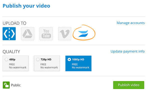 WeVideo Export Videos to Wistia