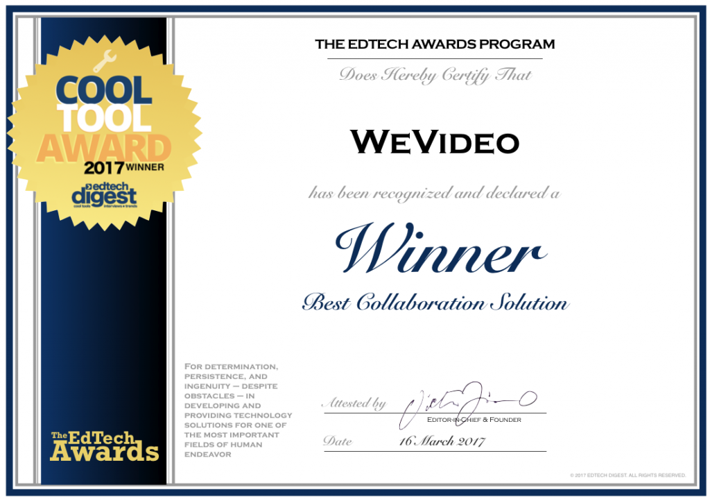 WeVideo edtechAward